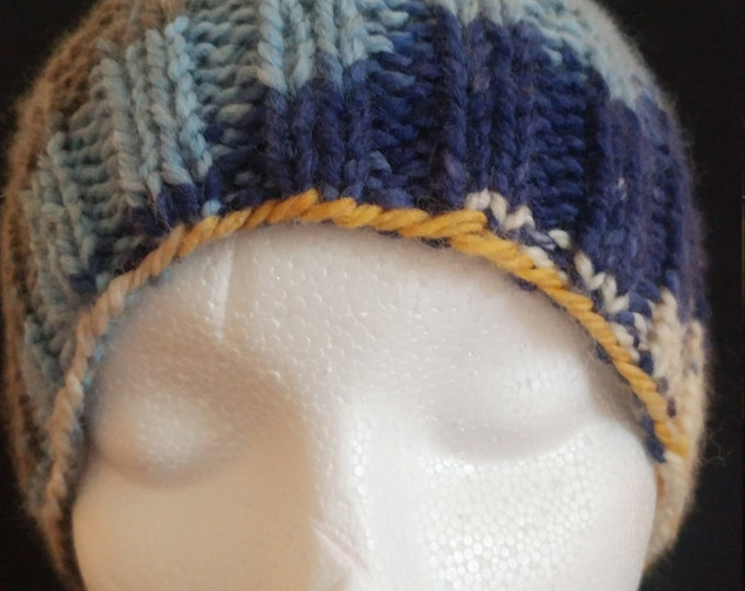 blue and gold beanie, waffle stitch beanie, rib hat, holiday hats, winter hats,