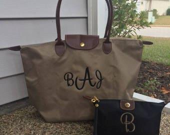 Custom Monogram Taupe Tote Bag - Nylon - Custom Tote Bag - Fall Color