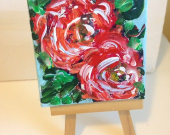 A rose by any other name , mini painting 3 x 3 with easel