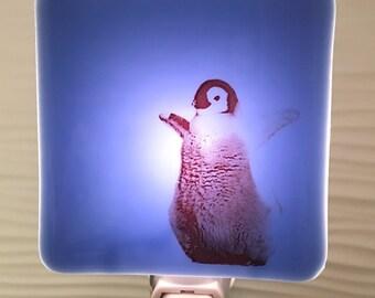 Penguin Baby Night Light Fused Glass