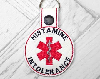 histamine intolerance keyring, histamine intolerant alert keyring, medic alert keychain, histamine intolerance alert, medic alert, keyring,
