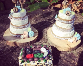 Wedding & special occasion cake ornaments handmade from polymer clay. Submit photo and request a custom order form.*Please read description