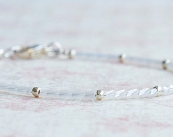 White And Silver Bracelet, Seed Bead Bracelet, Stacking Bracelet, Beaded Bracelet, Minimalist Bracelet, Simple Bracelet, Delicate Bracelet