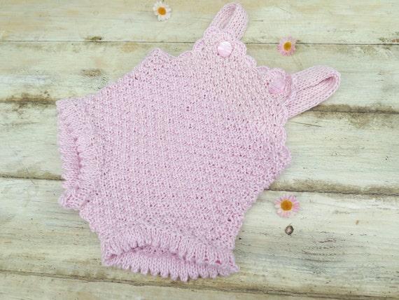 KNITTING PATTERN Baby Girl Romper Knit Romper Onsie Retro