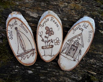 Room Door sign decoration  Personalised Wooden  handmade pyrography