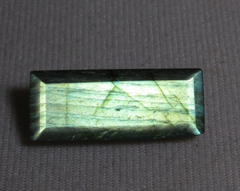 LABRADORITE - Faceted Both Side - Rectangular Shape - Cut Stone Size - 14x34mm - weight - 31.00 crt