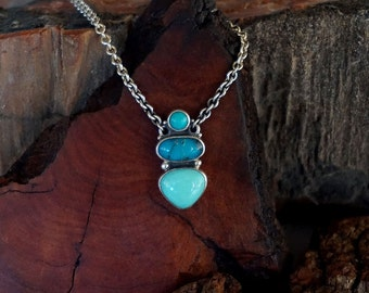 Sleeping Beauty and Persian Turquoise Sterling Silver Pendant Necklace ... Made to Order