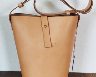 Tall Leather Bucket Bag