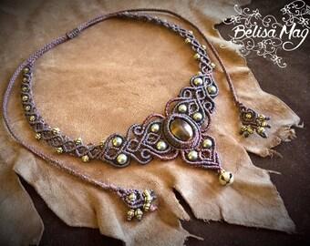 Tiger eye brown macrame choker, Belisamag, macrame necklace, macrame gemstone, crystal necklace, tribal gipsy jewelry, fairy necklace.