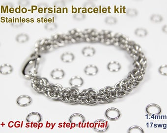 Medo-Persian Bracelet Kit, Chainmaille Kit, Stainless Steel, Chainmail Kit, Jump Rings, Chainmaille Bracelet Kit, Chainmail Tutorial