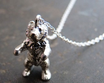 Vintage Sterling Silver Bear Charm Necklace