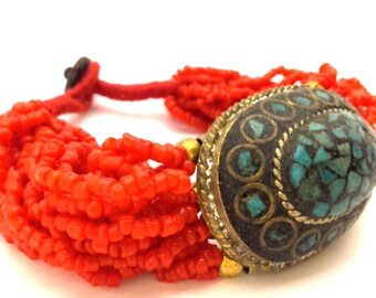Bracelet Morocco Red Coral Color Glass Seed Beads Turquoise Inlay Vintage Handmade Charming