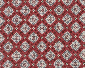 Pondicherry Indian Red Triangles by French General for Moda Fabrics, 100% Premium Cotton