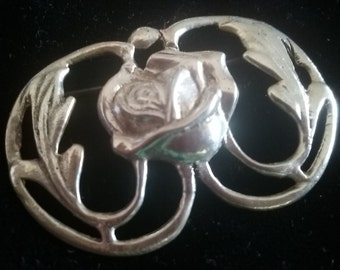 Antique Sterling Silver Brooch Art Deco Old Signed Estate Flower Floral Pin Vintage Jewelry