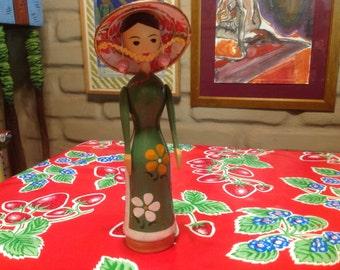 Vintage hand painted wooden folk art  Japanese doll