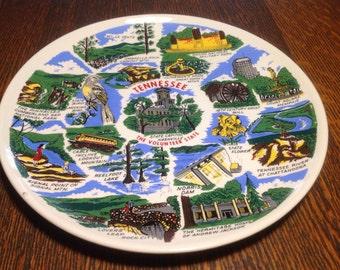 IVintage ceramic souvenir plate- Tennessee, the Volunteer State
