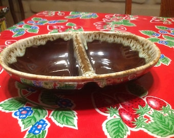 Vintage Carefree Ironstone by Canonsburg drip glaze divided serving bowl- USA