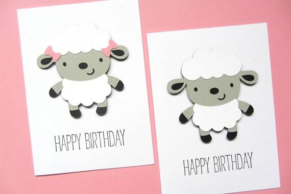 Lamb Birthday Card Sheep Birthday Card Kid Birthday Card – Sheep Birthday Cards
