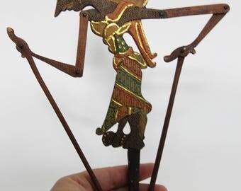 Vintage Traditional Wooden Shadow Puppet Batik Ombre Java Indonesia, Wayang Klitik