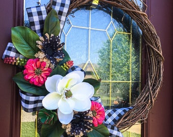 "24"" Black, White, and Pink Grapevine Wreath, spring summer"