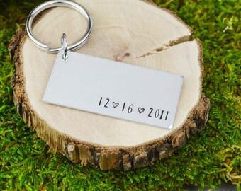 Custom Wedding Date Keychain - Handstamped Anniversary Gift