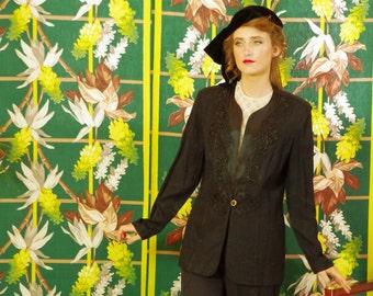 Vintage Black Evening Jacket . 90's Rocker Chic Cool . Crepe Satin & Floral Lace . Tuxedo vibe . Chic Party Goddess . R M Richards label .