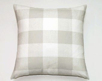 Buffalo Check Gray Pillow cover, 26x26 Decorative Pillow Covers, Modern Cushion Cover, Anderson French Gray