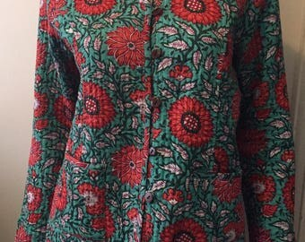 Vintage floral quilted jacket lightweight kimono cardigan bohemian gypsy size S