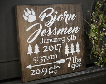 Baby Birth Announcement Statistic Sign - Dark Walnut Color