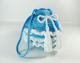 Ruffled Purse - Girl's Ruffled Purse - Little Girl's Purse - Crochet Purse - Make-up Bag - Cosmetic Bag - Ocean Waves