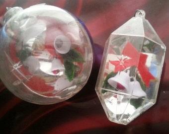 Vintage '50s Plastic Poinsetta Ornaments
