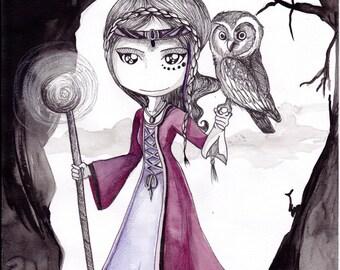 Ana Dess in fantasy wisard - Original drawing