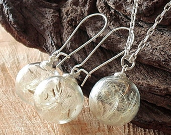 Dandelion Set Silver, Necklace and Earrings, Glass globes, Jewelry Set