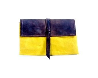 WAX Canvas and faded Leather billfold wallet with card slots Travel Wallet - hold passports, cash and cards-large size