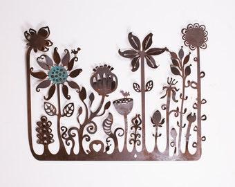Flower Landscape rustic mild steel wall decoration 90 x 110cm