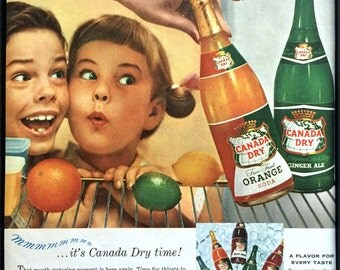 1950's Vintage Framed Print Ad - Canada Dry Ginger Ale and Orange Soda Mid Century Advertising