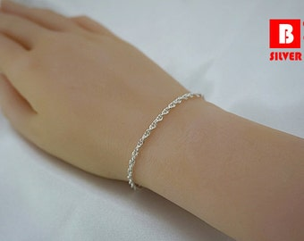 925 Sterling Silver Bracelet, Loose Rope Chain (Code : YL1)