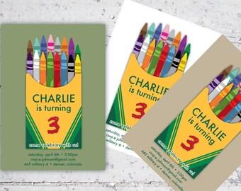 Kid's Crayon Themed Birthday Invitation   5x7   Print-It-Yourself   Digital Download   Printable   Custom Invitation