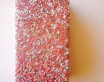 pink Crushed Rhinestone Cigarette Case, Cigarette Pack Holde fits 100 and king size