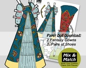 Paper Doll Fashions- Mix & Match Digital Paper Doll Clothing Download- Printable Paper Doll Clothing Set