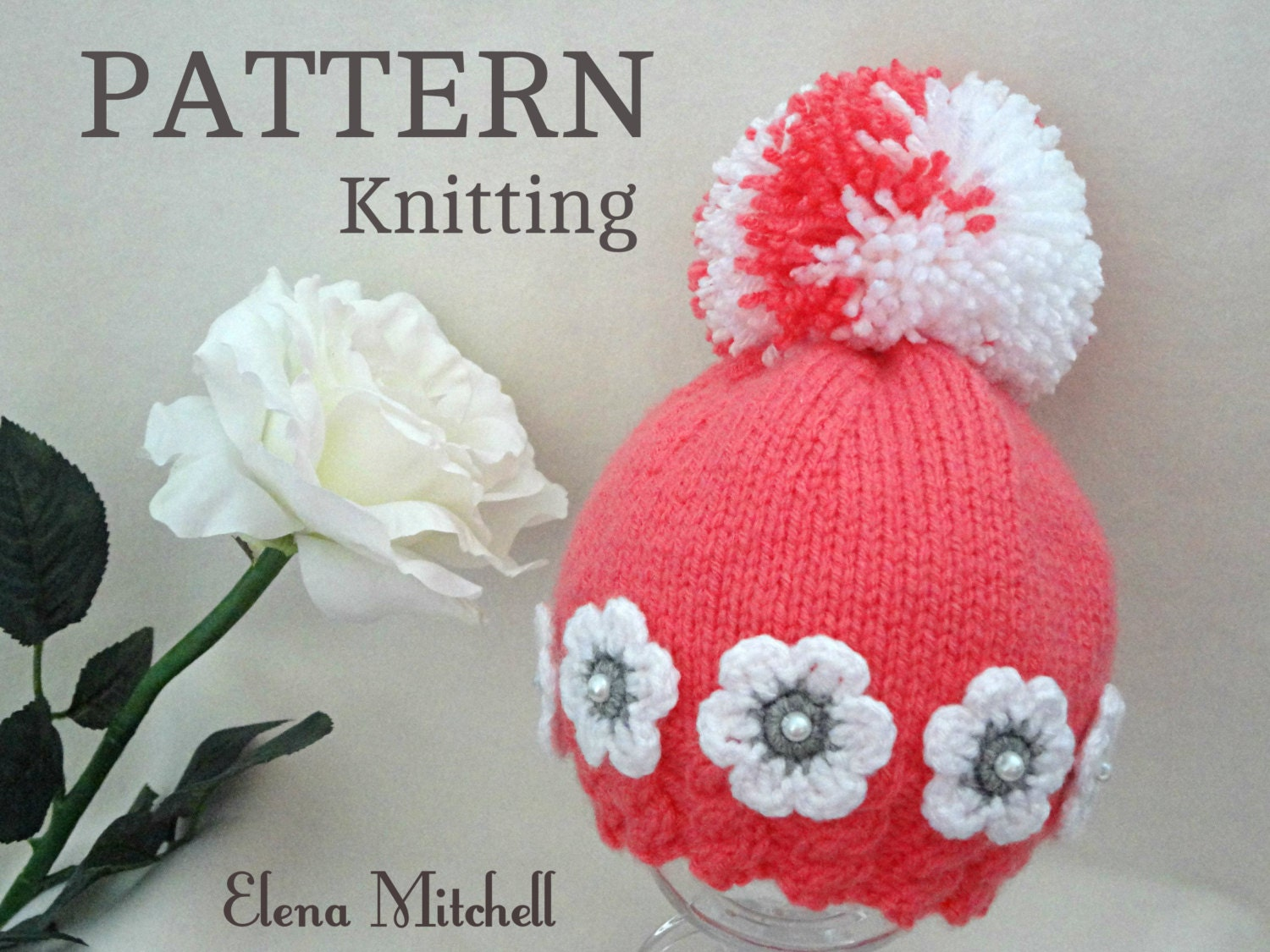 Knitting Patterns Baby Novelty Hats : Knitting PATTERN Baby Hat Baby Girl Beanie Knitted Baby Cap