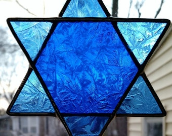Star of David Stained Glass Suncatcher - Blue