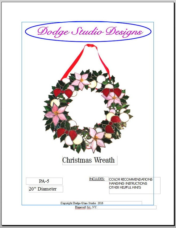 """Christmas Holly Wreath Pattern with Poinsettias, Bows and Balls - 20"""" Diameter"""