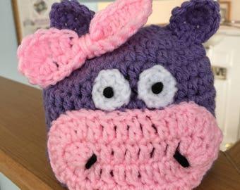 Hippo newborn hat