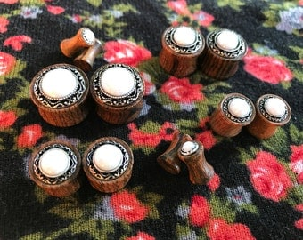 """Sono Wood Plugs with Opal Inlay 4g 2g 0g 00g 1/2"""" 9/16"""" 5/8"""""""
