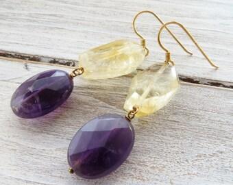 Citrine earrings, purple amethyst earrings, golden sterling silver 925 earrings, yellow stone earrings, dangle earrings, gemstone jewelry