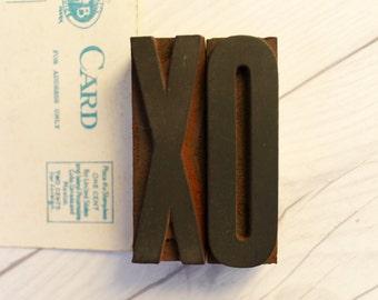 XO Letterpress Letter Blocks from the 1930s, Vintage Letterpress XO - Hugs and Kisses [Inventory #2]