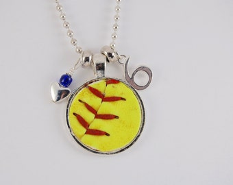 Softball Necklace made with a real softball