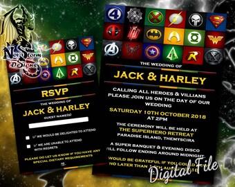 superhero wedding invitations rsvp cards save the date cards available digital file - Superhero Wedding Invitations