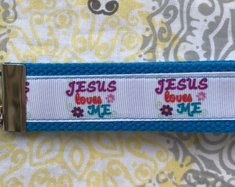 FOB keychain wristlet - Jesus loves me (Blue)